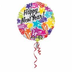 Balon Foliowy Happy New Year - okrągły kolorowy 43 cm