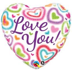 Balon Serce z napisem Love You Kolorowy - 46 cm