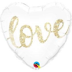 Biały balon foliowy Serce z napisem Love - 46 cm