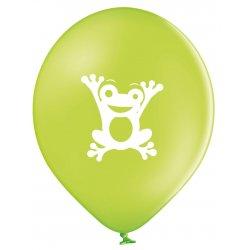 Balon Żabka - Biała żabka na zielonym tle - 11 cali