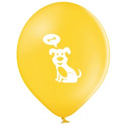 Balon Piesek - Biały piesek na żółtym tle - 11 cali