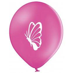 Balon Motyl - Biały motyl na różowym tle - 11 cali