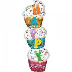 "Balon SuperShape - Babeczki ""Happy Birthday"" - 33 x 104 cm"