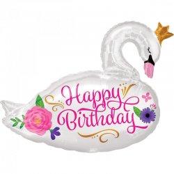 BALON foliowy ŁABĘDŹ urodzinowy Happy Birthday