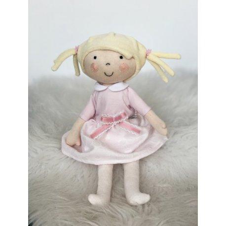 Lalka Hania blondynka - Szara sukienka w kropeczki