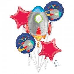 Bukiet balonów foliowych RAKIETA i GWIAZDY - SuperShape