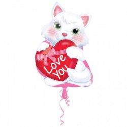 Balon foliowy Kotek z Serduszkiem - 33 cm x 50 cm