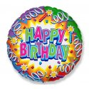 "Balon foliowy 18"" Happy Birthday - serpentyny"