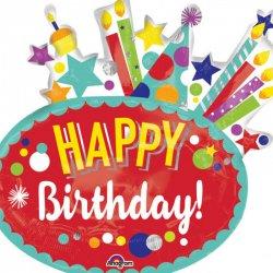 """Balon SuperShape - Festive Birthday """"Happy Birthday"""" - 76 x 73 cm"""