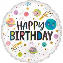 Balon Foliowy UŚMIECHNIĘTE PLANETY z napisem Happy Birthday