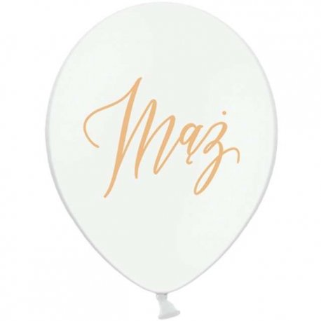 Balon weselny biały z napisem Mąż