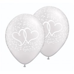 "Balon na ślub / wesele - ""Stylizowane serca"", metalik perłowy 11"" QL"