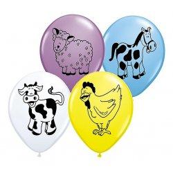 """Balon lateksowy """"Zwierzątka z farmy"""", pastel mix 5 kolorów / zwierząt - QL"""