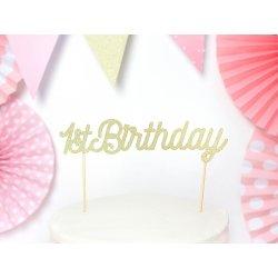 Ozdoba na pierwsze urodziny - złoty Topper na tort