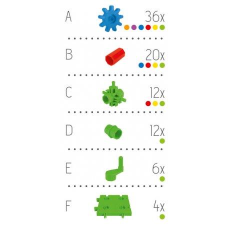 Korbo BASIC 90 - wykaz klocków korbo w zestawie