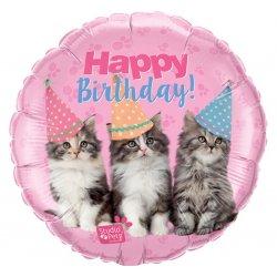 Balon Foliowy Happy Birthday - Urodzinowe kotki 46 cm