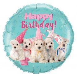 Balon Foliowy Happy Birthday - Urodzinowe pieski 46 cm