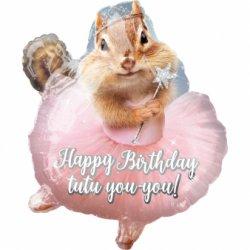 Balon Foliowy Happy Birthday - Wiewiórka 46 cm