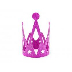Korona Princess - Ciemny Róż - Brokatowa