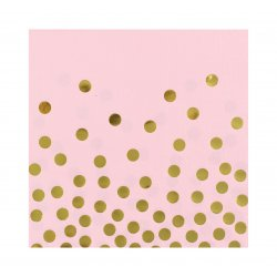 """Serwetki papierowe """"Złote groszki"""" różowe, rozm. 33 x 33 cm 12 szt."""