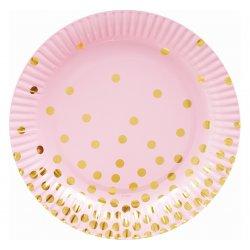"""Talerzyki papierowe """"Złote groszki"""" różowe 18 cm 6 szt."""