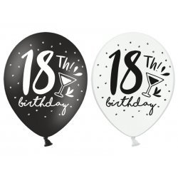 Balony 18th! birthday, mix czarne / białe 30 cm