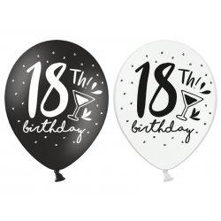 Balony 18th! birthday, mix czarne / białe 30 cm