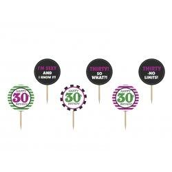 Toppery na 30 urodziny - mix wzorów - 6 sztuk