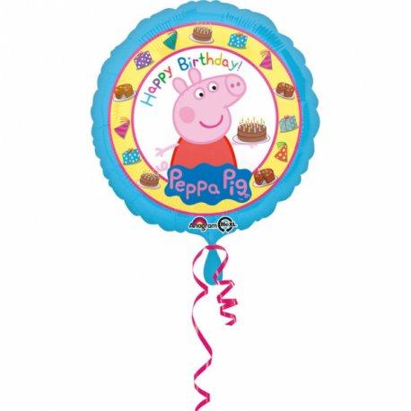 Świnka Peppa Urodzinowy Balon Foliowy - 43cm - Happy Birthday