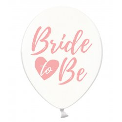 Balon Bride to be - Crystal Clear - Różowy napis - 30 cm