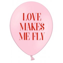 Balon 30 cm, Love makes me fly, Pastel Baby Pink