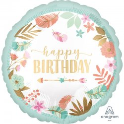 """Balon """"Happy Birthday"""" okrągły - 43 cm"""