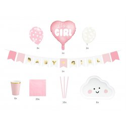 Zestaw dekoracji na Baby Shower dziewczynki - It's a girl