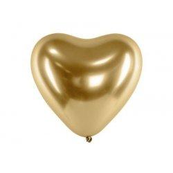 Balon Glossy w kształcie serca, Złoty