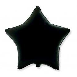 Balon czarna gwiazdka, foliowy 18 cali