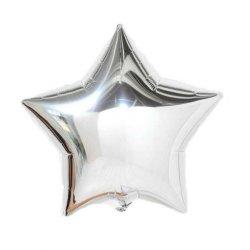 Balon srebrny gwiazdka, foliowy 18 cali