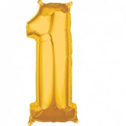 Balon foliowy - Złota Cyfra 1 - 66 cm