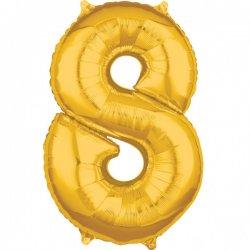 Balon foliowy - Złota Cyfra 8 - 66 cm