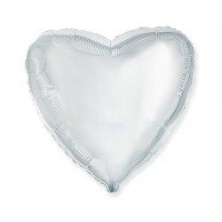 "Balon foliowy Srebrne Serce 18"" (45 cm średnicy)"