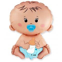 """Balon foliowy """"Bobas chłopiec"""" - Baby Shower - 61 cm"""