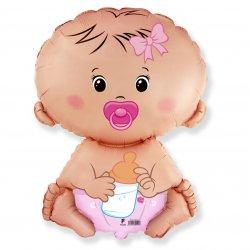 """Balon foliowy """"Bobas dziewczynka"""" - Baby Shower - 61 cm"""
