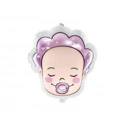 """Balon foliowy """"Bobas dziewczynka"""" - Baby Shower - 45 cm"""