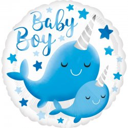 Balon Narodziny Dziecka Baby Boy - dla chłopczyka - Narwale 43 cm