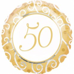 Balon Foliowy na 50 urodziny lub rocznicę - 45 cm