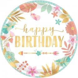 """Talerzyki papierowe """"Happy Birthday"""" - 17,8 cm, 8 szt."""