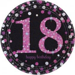 """Talerzyki """"Happy Birthday 18th"""" - 8 sztuk, 22,9 cm"""