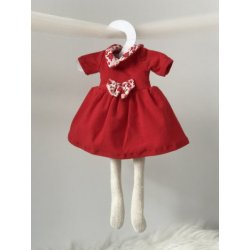 Ubranko dla lalki - Czerwona sukienka z kokardą