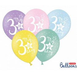 Balon 30cm trójka- lateksowy, różne kolory pastel