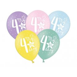 Balon 30cm czwórka- lateksowy, różne kolory pastel
