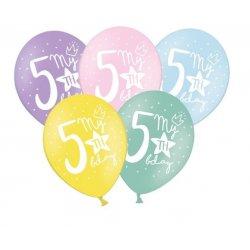 Balon 30cm piątka- lateksowy, różne kolory pastel